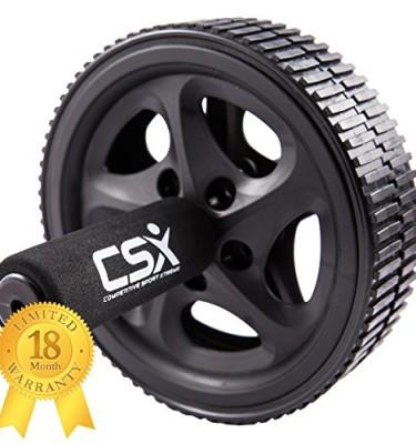 CSX-Bauchroller-Rad-mit-extra-dicker-Knieauflagematte-und-Komfort-Schaumgriffen-Schwarz-Dual-Doppel-Pro-Bauchbungsrad-Phantastischer-Fitnessworkout-fr-die-Bauchmuskeln-0
